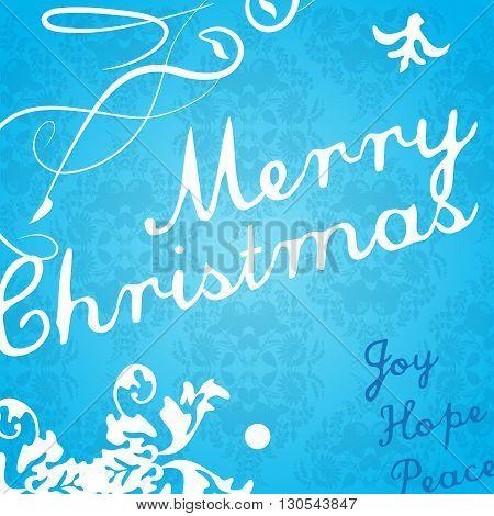 Modern Christmas invitation card on blue background. Vector art
