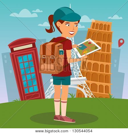 Tourist Girl. Navigation Map on Tablet. Tourist Using Mobile Navigator. Vector illustration