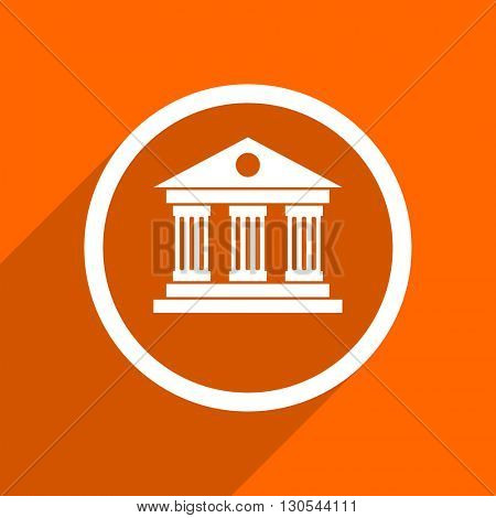 museum icon. Orange flat button. Web and mobile app design illustration