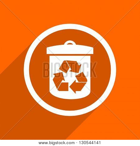 recycle icon. Orange flat button. Web and mobile app design illustration