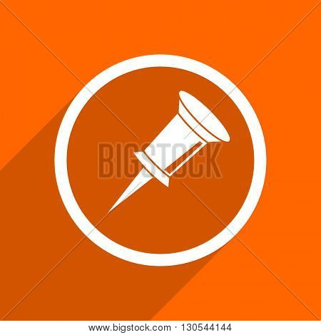 pin icon. Orange flat button. Web and mobile app design illustration