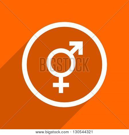 sex icon. Orange flat button. Web and mobile app design illustration