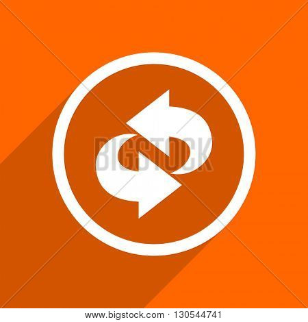 rotation icon. Orange flat button. Web and mobile app design illustration