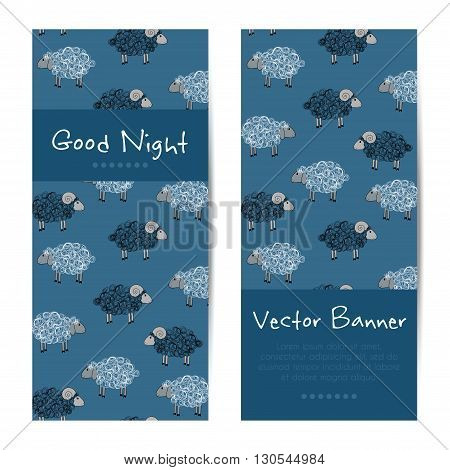 Vector vertical banners with cute sheep. Good night cards