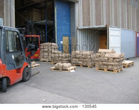 Unloading Container Outside A Warehouse