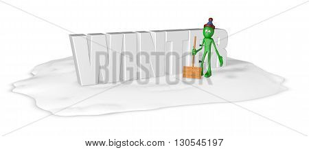 cartoon guy with snow shovel and the word winter - 3d rendering