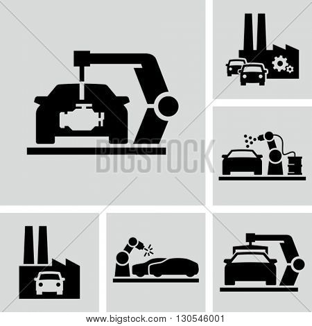 Car Assembly Factory Icons