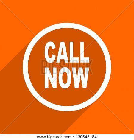 call now icon. Orange flat button. Web and mobile app design illustration