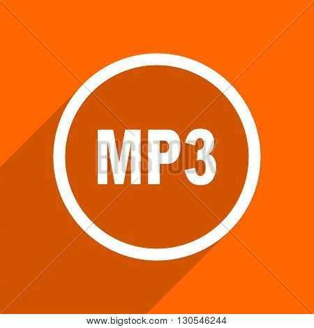 mp3 icon. Orange flat button. Web and mobile app design illustration