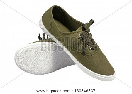 A pair of walking green sneakers isolated with clipping path.