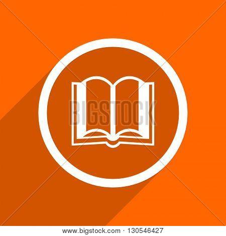 book icon. Orange flat button. Web and mobile app design illustration