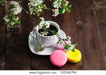 Cup Of Coffee With Cookies Macaroon Branch Of Cherry