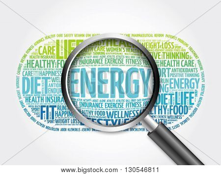 Energy Word Cloud With Magnifying Glass
