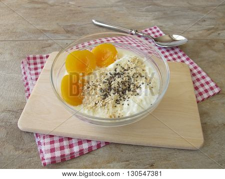 Soured milk with apricots, cereals and chia seeds