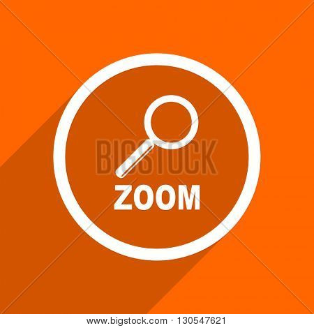 zoom icon. Orange flat button. Web and mobile app design illustration