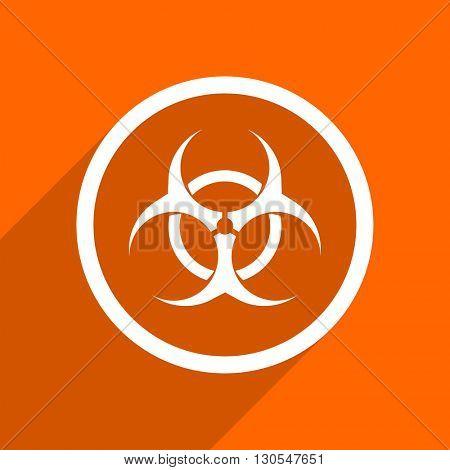 biohazard icon. Orange flat button. Web and mobile app design illustration