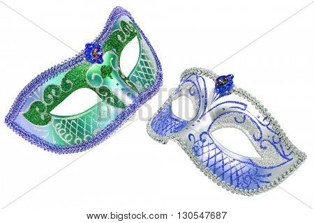 Two carnival Venetian masks isolated on white background with clipping path.