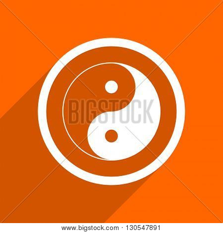 ying yang icon. Orange flat button. Web and mobile app design illustration
