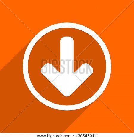 download arrow icon. Orange flat button. Web and mobile app design illustration