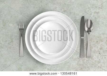 three empty plates spoon fork and knife on a marble base, 3D illustration.