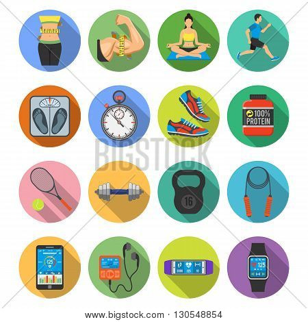 Fitness, Gym, Health Flat Icons Set with Long Shadow for Mobile Applications, Web Site, Advertising like Yoga, Runner, Weight and Gadgets.