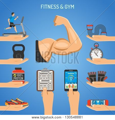 Fitness, Gym, Healthy Lifestyle Concept for Mobile Applications, Web Site, Advertising with Biceps, Protein and Treadmill Icons.