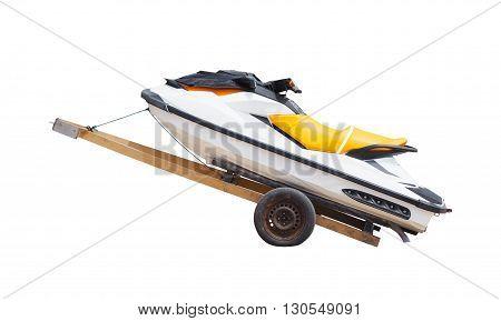 White jet ski on trolley isolated on white background