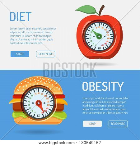 Diet and Obesity Concept for Mobile Applications, Web Site, Advertising with Hamburger, Apple and Scales Icons.