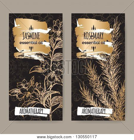 Set of two labels with jasmine and rosemary on elegant black lace background. Aromatherapy series. Great for traditional medicine, perfume design, cooking or gardening.