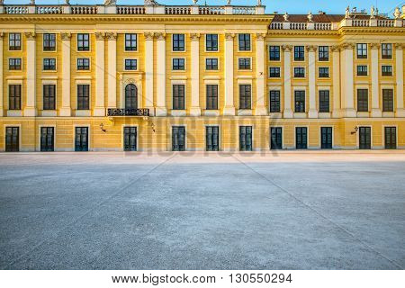 VIENNA, AUSTRIA - CIRCA APRIL 2016: Facade of Schonbrunn palace in Vienna. This Palace is one of the most important architectural and historical monuments in Austria