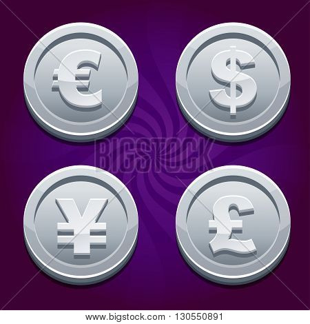 Main currencies symbols represented as shiny silver coins. Dollar Euro Pound and Yen