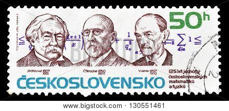 CZECHOSLOVAKIA - CIRCA 1967 : Cancelled postage stamp printed by Czechoslovakia, that shows portraits of scientists.