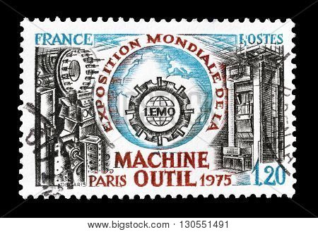 FRANCE - CIRCA 1975 : Cancelled postage stamp printed by France, that shows The first World Exposition of the machine tool.