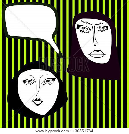 Two arabian women face with place for text