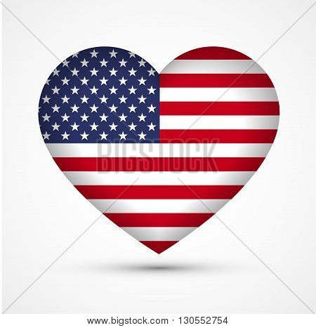 Heart in national american flag colors. Heart shape symbol