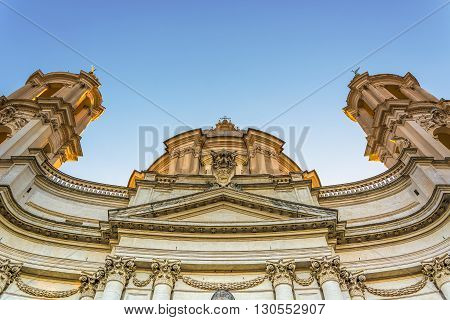 bottom view of the baroque facade of saint Agnese church in Rome