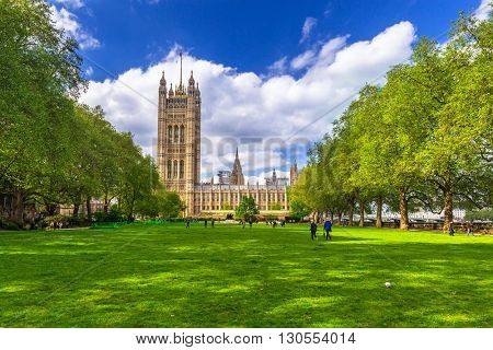 Architecture of the Westminster Palace in London, UK