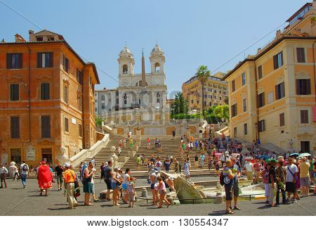 ROME, ITALY - JULY 02, 2012: Spanish Steps and Barcaccia Fountain and Obelisco Sallustiano