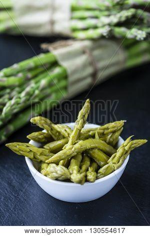 Green Asparagus On A Slate Slab