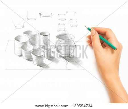 Hand draws a pencil items cookware on a white background