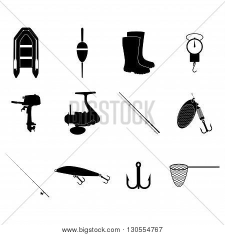 Fishing Icons Set. Concept illustration for design.