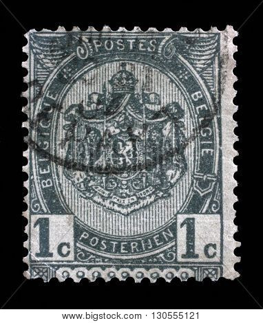 ZAGREB, CROATIA - SEPTEMBER 04: Stamp printed in Belgium shows Belgian coat of arms, circa 1893, on September 04, 2014, Zagreb, Croatia
