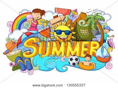 vector illustration of doodle of Summer poster