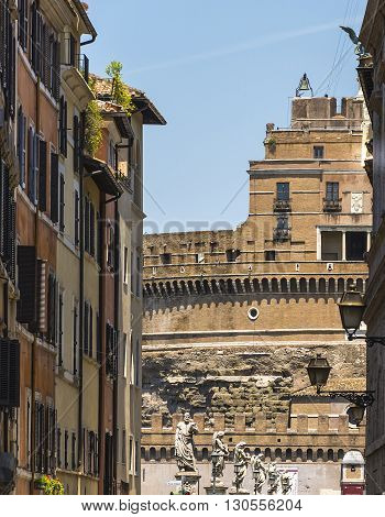 castel sant'angelo facade through medieval streets of Rome