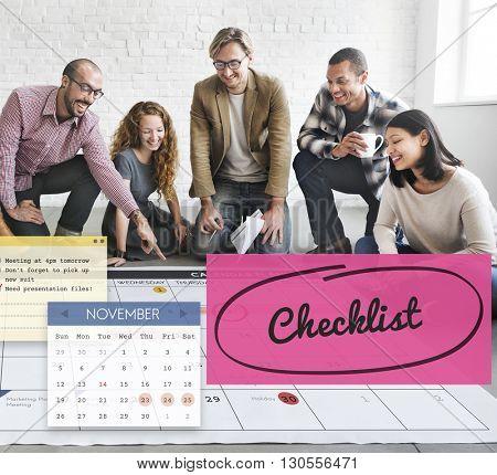 Checklist Appointment Schedule Event Concept
