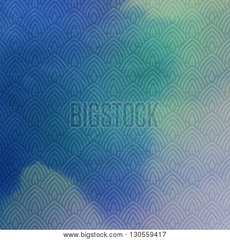 vector illustration of ornate art-deco pattern on watercolor background. graceful line art-deco background