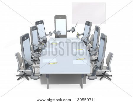 Many Smartphone Meeting Around The Table And Follow Their Boss