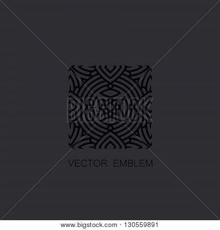 vector floral black emblem. art-deco black emblem. black monogram sign. art-deco line art element for design