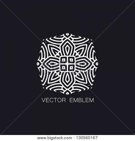 vector floral white emblem. art-deco white emblem. white monogram sign. art-deco line art element for design