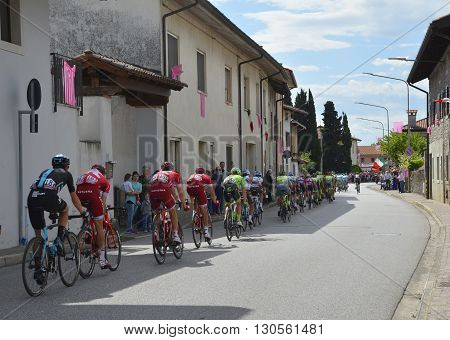 Moimacco Italy - May 20th 2016. The 2016 Giro d'Italia passes through the village of Moimacco in Friuli Venezia Giulia for the first time in 40 years.